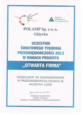 """Polamp sp. z o.o. """"OTWARTĄ FIRMĄ"""""""
