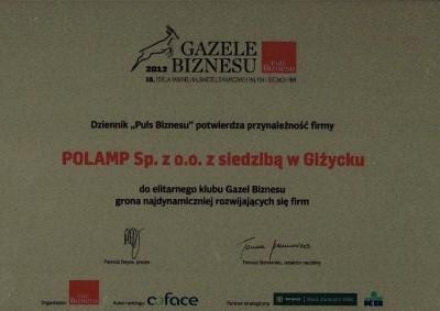Firma Polamp sp. z o.o. ponownie Gazelą Biznesu