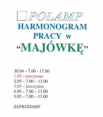 """HARMONOGRAM PRACY W """" MAJÓWKĘ"""""""